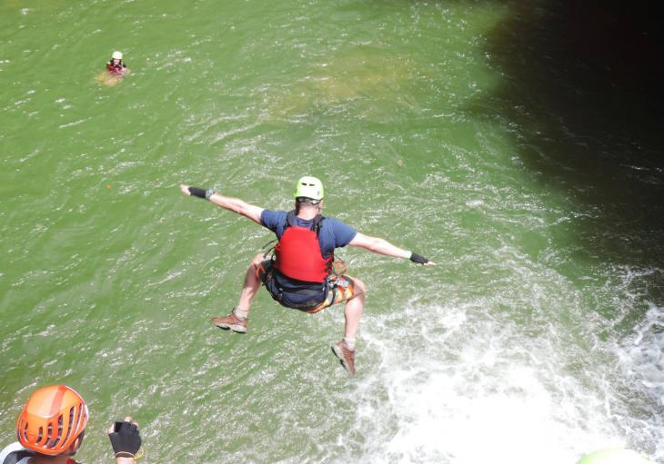 Cliff jumping in Canyoning tour in Da Lat